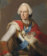 portrait of ludwig viii, landgrave of hesse-darmstadt (1691-1768), in a curas with a white and red coat with gold trimmings and a ermine robe by johann christian fiedler
