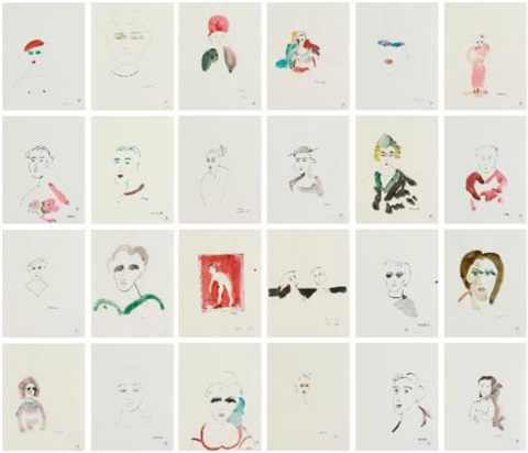 untitled (series of 24 drawings) by thomas schütte