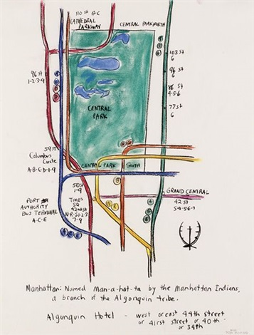 drawing for the armory 9 manhattan subway map by karen kilimnik