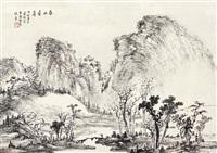 春山叠翠 镜心 水墨纸本 by xiao junxian