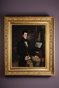 portrait of young man holding music beside a piano by sebastian gutzwiller