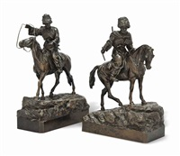 circassian horsemen (pair) by vassili yacovlevitch grachev