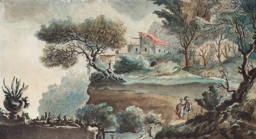 italienskt landskap med bondgård och figurer by louis jean desprez