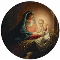 maria mit dem jesuskind im stall by fritz hummel