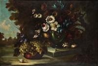 bodegón de flores y uvas en un jardin by alarcon