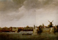 a view of a dutch fortified town across a river by abraham de verwer