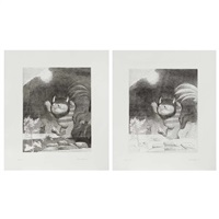 two large signed wild thing prints in variant states by maurice sendak
