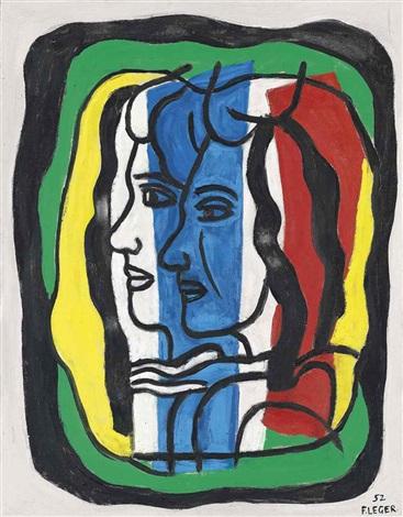 composition aux deux profils by fernand léger