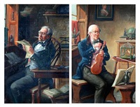 gentleman tuning a violin (+ a gentleman reading a letter; pair) by alexander austen