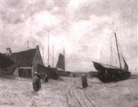 fischerboote am strand by p. van der moehlen