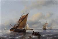 dutch barges and other shipping at sea by antonie waldorp