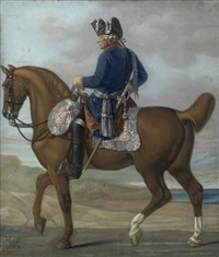 an equestrian portrait of king frederick ii of prussia, in military dress by carl adolf heinrich hess