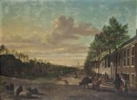 a view of the delftse poort, rotterdam, seen from the canal de schie with the laurenskerk beyond by paulus constantijn la (la fargue) fargue