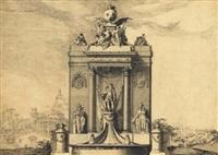 une fontaine avec les armes de france et la statue d'un roi flanquée d'allégories de la royauté, dans un capriccio romain avec la pyramide de caïus sextius by jean laurent legeay