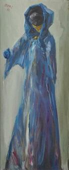 figur mit gesichtsmaske in blauem kapuzenmantel by hubertus giebe