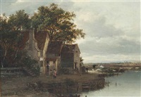 a river landscape with figures by a cottage, cattle beyond by patrick nasmyth
