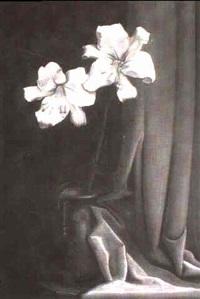 stilleben mit weisser lilie & skizze eines ausgestreckten mannerbeines by richard wilhelm kempin