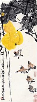 福禄藤鸟 立轴 设色纸本 by liang qi