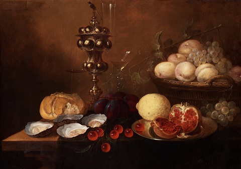 still life with a silver beaker oysters pomegranate cherries and grapes by jan van den hecke