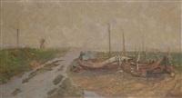chaloupes de pêcheurs dans une boucle de rivière avec moulin à vent à l'arrière-plan by frans van damme