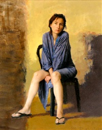 seated female figure by michael rapoport