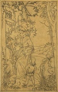 johannes mit seiner mutter vor der krähenhütte seines großvaters (design for woodcut) by edward jakob von steinle