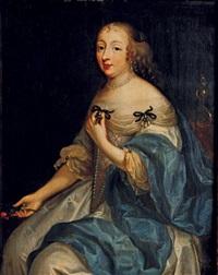 portrait d'une femme de qualité aux yeux bleus, assise, présentant une croix nouée à son corsage, des roses dans sa main droite by louis ferdinand elle the elder
