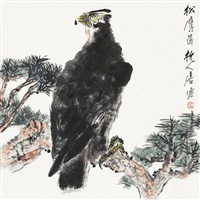 eagle on the pine tree by tang yun