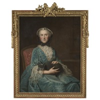 portrait of a seated lady wearing a turquoise dress with lace cuffs and collar and a bonnet, holding a black cat by louis tocqué