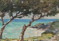 coastal view with trees, probably bermuda by clark greenwood voorhees