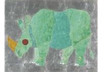 green rhinoceros by junji kawashima