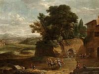 landskap med festande bondebefolkning by gaspar de witte