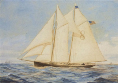 the new york pilot cutter edward e barrett off the approaches to the harbour by conrad freitag