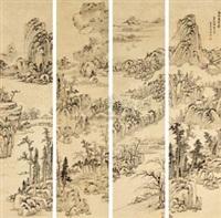 山水 (in 4 parts) by luo mu (lo mou)