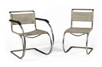 'mr20' armchair and 'mr10' sidechair (2 works) by lilly reich and ludwig mies van der rohe