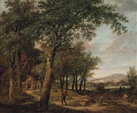 a wooded landscape with a traveller returning to a cottage by pietersz (pieter) barbiers
