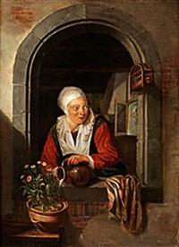 kvinna i fönster by dominicus van tol