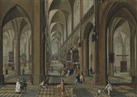 the interior of the cathedral of our lady, antwerp, with mass being celebrated on one of the altars, and other elegant figures conversing by frans francken and pieter neefs the elder