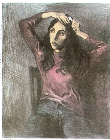 girl combing hair by raphael soyer