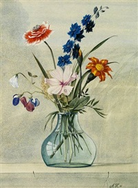 altmeisterliches blumenstilleben in glasvase by albert henning