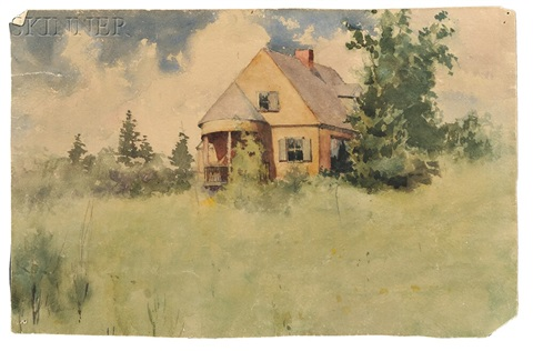 three works house in a field skyline with spruces and woodlands by frank weston benson