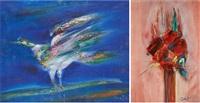 oiseau et fleur (2 works) by rené smet
