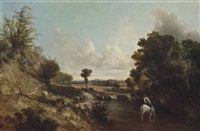 a wooded river landscape with a drover on horseback and his cattle on a track by john constable