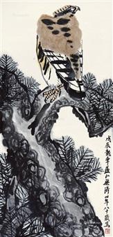 松鹰图 立轴 设色纸本 by liang qi