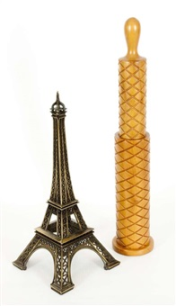 senza titolo (eiffel tower and pepper mill) (2 works) by haim steinbach