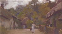 a milkmaid on a village street by george harcourt sephton