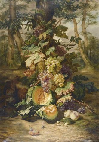 reiches stillleben mit früchten und tieren by simon saint-jean