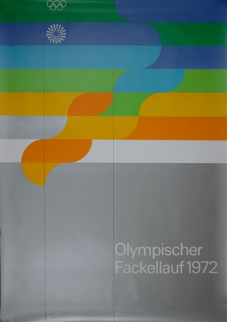 plakat olympia fackellauf für die olympiade münchen 1972 by otl aicher