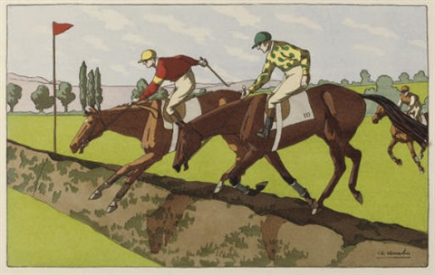 racehorses set of 8 by charles ancelin