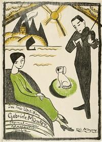 plakat für die gabriele münter-ausstellung 1918 in kopenhagen by gabriele münter